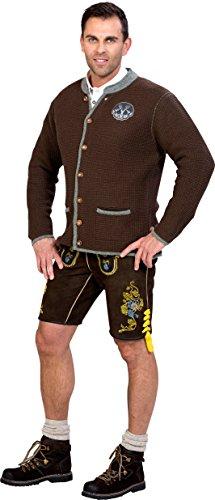 Almwerk Herren Trachten Strick Jacke Modell Ludwig, Größe Herren:50 - L - Bundweite 86-89 cm;Farbe:Braun - 3