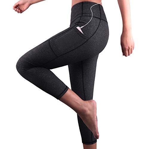 Ziehen Spandex-leggings (Damen Hohe Taille Sport Leggings,Damen 3/4 Sport Leggings,Yoga Sporthose mit Seitentaschen, Damen Leggings,Classics Schwarz Stretch Workout Fitness Jogginghose,Zwei Seitentaschen (Dunkelgrau, M))
