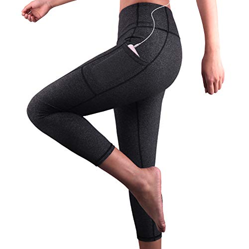 Damen Hohe Taille Sport Leggings,Damen 3/4 Sport Leggings,Yoga Sporthose mit Seitentaschen, Damen Leggings,Classics Schwarz Stretch Workout Fitness Jogginghose,Zwei Seitentaschen (Dunkelgrau, L) - Leichte Stretch-leggings