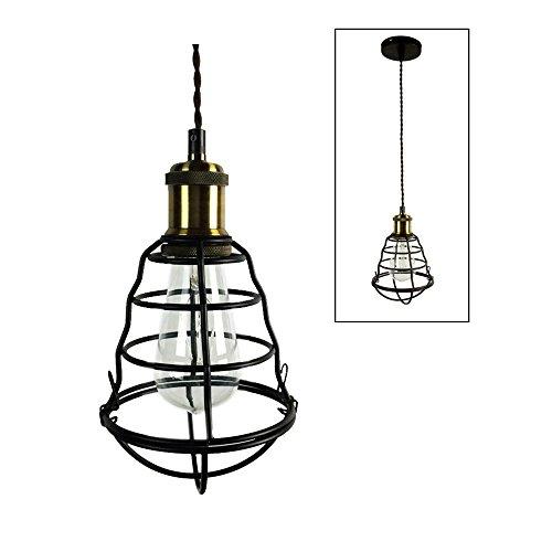 HJXDtech® Industrielle Vintage Pendelleuchte mit schwarzem Metall Käfig Retro Loft Bar hängende Deckenleuchte Leuchte