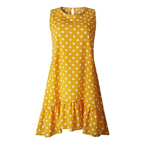 XIAYUTIAN Frauen-Sommerkleid-Mode-Punkt kleidet ärmelloses Strand-Minikleid beiläufige gedruckte Kurze lose gelbe Sommerkleid 2019 neues Gelb, XXL