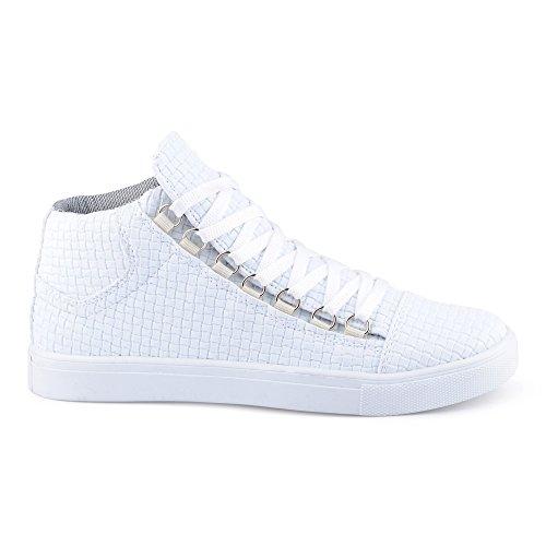 FiveSix Herren Sportschuhe High Top Sneaker Muster Basketballschuhe  Freizeitschuhe Schuhe Weiß
