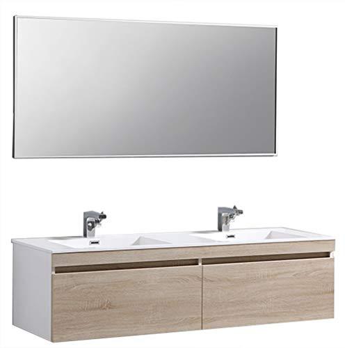 Holz-doppel-waschtisch (Badmöbel-Set Easy 1600 Weiß inkl. Seitenschrank - Front Eiche hell - Spiegel optional, Spiegel:Ohne Spiegel)