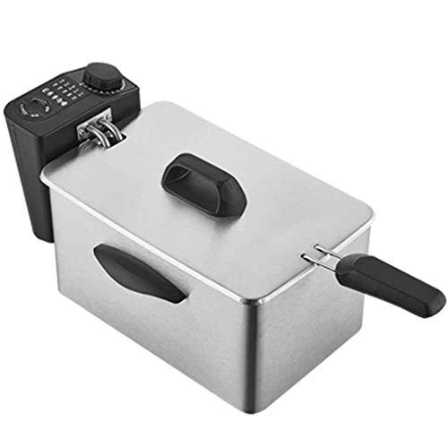 LBSX Startseite Elektro Friteuse, 2.5L 2000W Edelstahl Kleines Smokeless Gewerbe Elektro-Friteuse Temperaturregelung Timing-Fritteuse mit Drainage- & Korb, Einzelflaschen