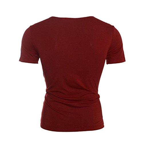 Oyedens Herren Sommer Modisches DüNnes Passendes SpleißEn Rundhals Kurzes Sleeved T Shirt Schwarz