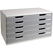 Exacompta - Mueble archivador con 5 cajones (tamaño A3), color gris perla