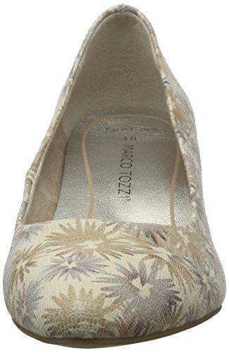 Marco Tozzi 22434, Chaussures à talons - Avant du pieds couvert femme Beige (Cream Flower 449)