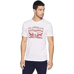 Levi's Men's Printed Regular Fit T-Shirt (28771-0163_White_M)
