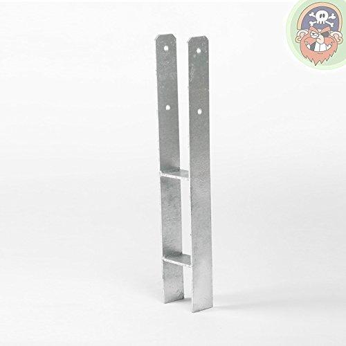 Preisvergleich Produktbild H-Anker 71 mm für Pfosten 7 x 7 cm Materialstärke: 6 mm von Gartenpirat®