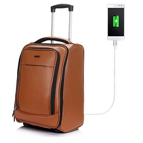 Suntop Tech-Bob Faux Leather USB Laptop Dual Wheeled Trolley Bag