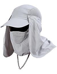 VGEBY Gorra de Protección Solar Anti-UV con Máscara Extraíble Sombrero Tapa de Cuello y Face Flap para Ciclismo, Senderismo, Pesca,…