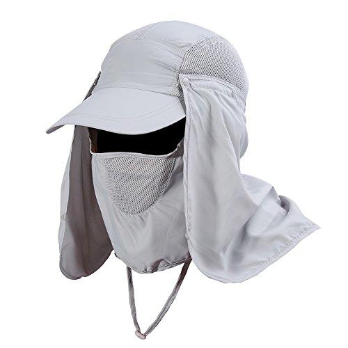 Gorra de Protección Solar Anti-UV con Máscara Extraíble Sombrero Tapa de Cuello y Face Flap para Ciclismo, Senderismo, Pesca, para Hombres Mujeres ( Color : Gris )