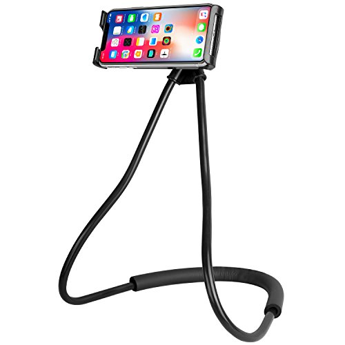 Lazy Phone Holder, ANGGO Universal Mobile Phone Stand Goose Neck 360 Rotating Flexible Long Arm DIY Free Rotating Phone Mounts Hanging on Neck Cell Phone Holder for iPhone Samsung HTC Cell Phones (Black)