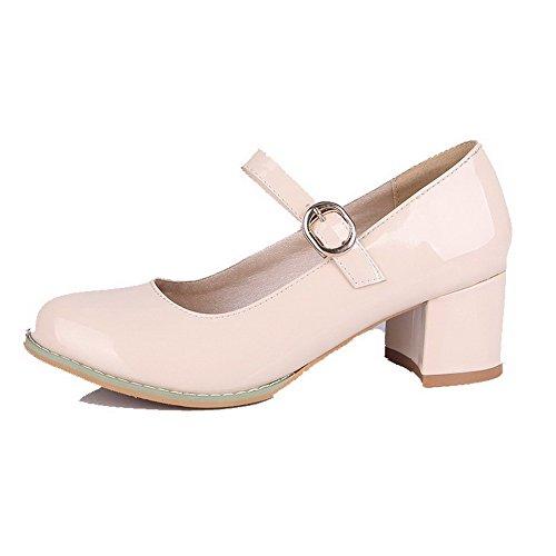 Chaussures Unie Cuir Talon Pu Femme Beige Couleur Rond Correct wFBOq1