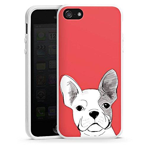 Apple iPhone 5s Housse Étui Protection Coque Bouledogue français Chien Chien Housse en silicone blanc