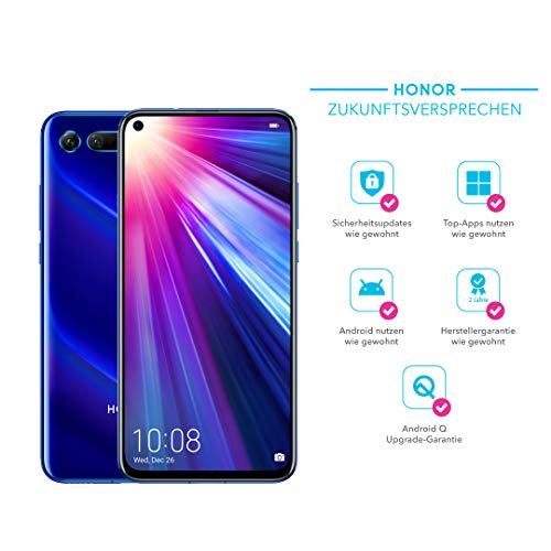 Honor View20 48MP 3D Kamera - 128GB Smartphone Bundle (6,4 Zoll, 4000mAh Akku, Dual-SIM, Android 9.0) + gratis HONOR Protective Cover [Exklusiv bei Amazon] - Deutsche Version, Sapphire Blue -