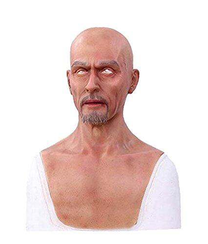 Ajusen Männliche Masken Silikon realistisch Voller Kopf Maskerade für Crossdresser Cosplayer Mann Maske Halloween Kostüm-Party (Halloween-bilder Für Männer)