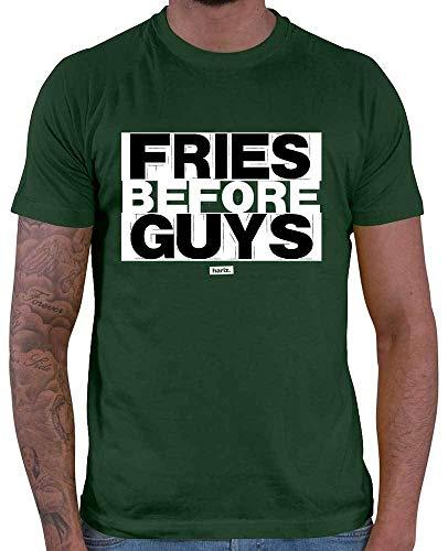 Nerd Kostüm Guy - HARIZ Herren T-Shirt Fries Before Guys Sprüche Schwarz Weiß Plus Geschenkkarten Dunkel Grün M