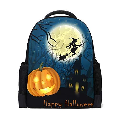 Rucksack Bookbag Daypack Happy Halloween Kürbis Hexe Wasserdicht für mittlere Reise Mädchen Jungen