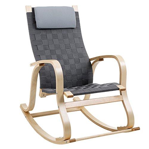 SONGMICS Schaukelstuhl Relaxstuhl mit Fußstütze Belastbarkeit 120 kg dunkelgrau LYY40G