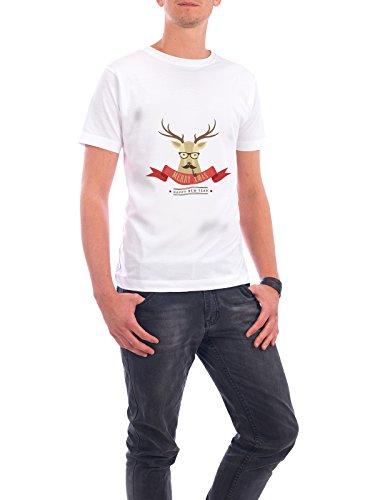 """Design T-Shirt Männer Continental Cotton """"Hipster Hirsch"""" - stylisches Shirt Tiere Weihnachten von artboxONE Edition Weiß"""