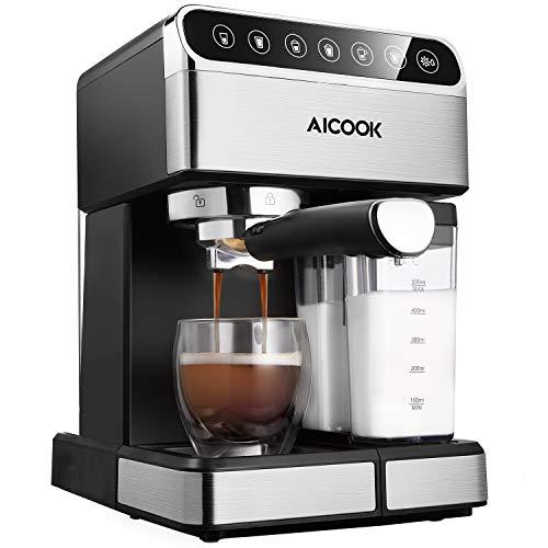 Kaffeemaschine Aicook Espressomaschine mit Siebträger, Kaffeevollautomat mit Milchaufschäumer, für Espresso, Cappuccino und Latte, 1.8L Wassertank und Milchbehälter, Touchscreen, 15 Bar, Edelstahl