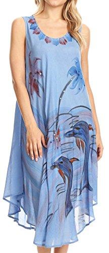 41YPAuka3VL - Sakkas Valentina Summer Light Cover-up Caftan Dress con stampa tropicale