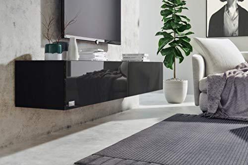 Wuun® 160cm/Schwarz-Hochglanz (Korpus Schwarz-Matt)/8 Größen/5 Farben/TV Lowboard TV Board hängend Hängeschrank Wohnwand/Somero