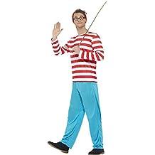 """De Smiffy - Traje """"¿Dónde está Wally"""", incl. chaleco, pantalones, gafas y sombrero, Hombre"""