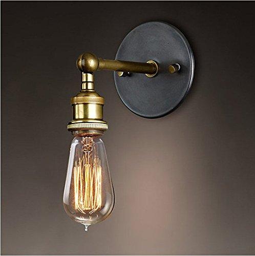 Splink Vintage lámpara de pared metal industrial latón acabado cabeza de cobre con casquillos E27...