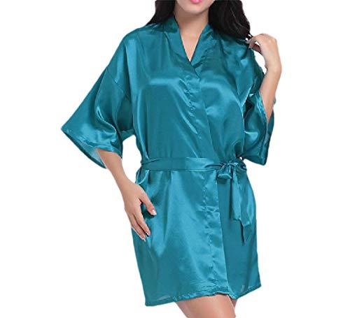 CuteRose Women's Solid-Colored Mini Charmeuse Kimono Cardigan Sexy Pajamas Blue XL -
