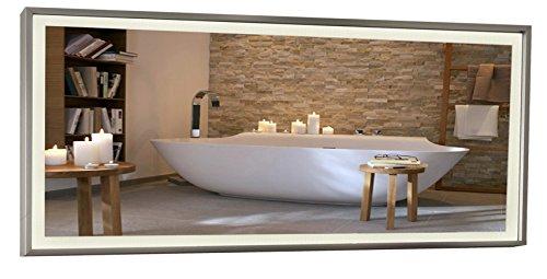 Infrarotheizung Spiegel - Heizung, Titan-Rahmen, mit eingebautem LED - Licht, 900 Watt - 140x60x2,5cm