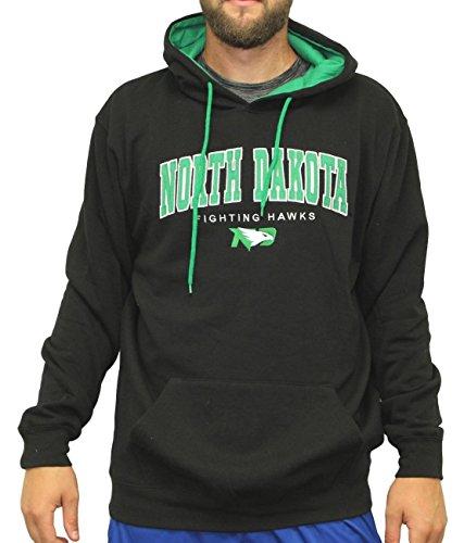 Mens North End (North Dakota Fighting Hawks NCAA End Zone Pullover Hooded Men's Black Sweatshirt)