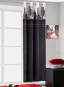 140x245 cm schwarz grau rot Vorhang Vorhänge Fensterdekoration Gardine Ösenschal stahl black red grey CITY