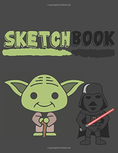 Sketchbook: Cute Yoda and Darth Vader Sketchbook for Kids to Sketching, Whiting, Drawing, Journaling and Doodling (8.5x11 Inch.) 150 Blank Pages for Children (Green&Black Pattern) (Black Boy Baby Doll)