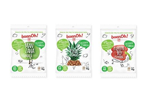 Mix de deshidratados crujientes - Pack 18 x 15g - Sin azúcar añadido, sin gluten, sin aditivos y sin freír. 100% Natural. Ideal para aperitivos, dietas y veganos