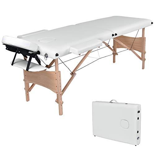 WellHome Table de massage pliante 2 zones en bois - cosmetique de massage portable