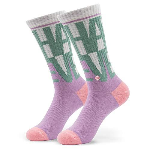 Clay Premium Tennissocken, Violett Retro Socken mit Motiv, JClay Bunte Socken Oldschool Damen & Herren Sportsocken, Skate Socken Größen L 43-46 ()