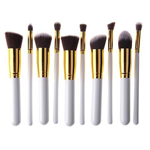 Naturebeauty 10 pcs Premium synthétiques Kabuki Pinceaux de maquillage de fond de teint Fard à paupières Blush Concealer Contour Poudre Brosse Cosmétique kit