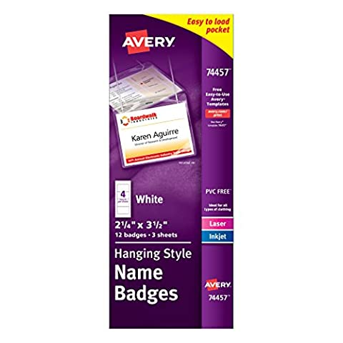 Avery Poly Hanging White Name Badge, 2-1/4