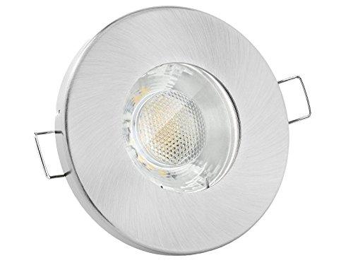 linovum® Feuchtraum LED Einbaustrahler 6W flach IP65 mit Wasserschutz für Bad, Dusche oder Außen warmweiß 2700K -