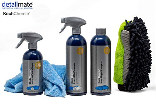 detailmate Autowäsche Set: Koch Chemie Insekten & Schmutzentferner 750ml + Nano Magic Shampoo 750ml + Allround Qucik Shine 500ml + Insect & Dirt Remover 750 ml + 3in1 Waschhandschuh Mikrofaserbezug - Chenille-finish