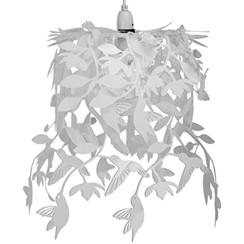 MiniSun - Moderna lámpara colgante de techo de estilo candelabro con cascada de colibríes blancos