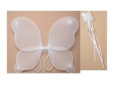 ONE4all kaufen® Medium weiß Glitzer Flügel und weiß Zauberstab (verschiedene Designs)–Fancy Kleid, Halloween, Geburtstag, Prinzessin Outfit, Princess Dressing Up Set