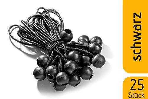 fuxton 25 Profi Spanngummis mit Kugel (schwarz 195 mm) für Zelte, Planen, Plakate. Planenspanner, Expanderschlingen, Planenhalter, Planengummi, Gummispanner, Zeltgummi