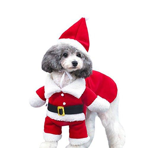 Vestiti Di Natale Per Cani.Delifur Costumi Di Natale Per Animali Domestici Tuta Per Cani Con Cappuccio Tuta Di Babbo Natale Per Cani Felpe Per Cani Costumi Natalizi Per Il Gatto