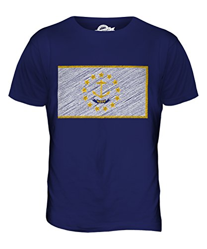 CandyMix Bundesstaat Rhode Island Kritzelte Flagge Herren T Shirt Navy Blau