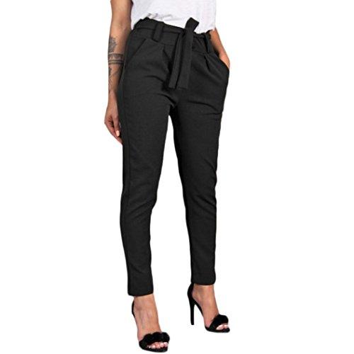UFACE Frauen Hohe Taille Solid Color Bandage Casual Hosen Frauen Verband Elastische Taille Streifen Casual Hosen (L, Schwarz)