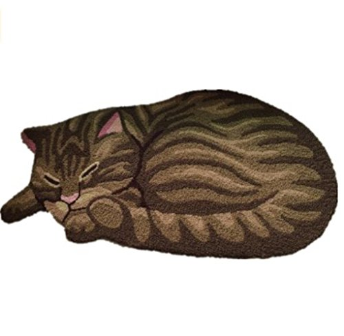 Süße schlafende Katze in Schlafzimmer rutschfeste Bereich Teppich Bodenmatten, Design Getigerte Katze Art Teppich für Zuhause (83,8x 43,2cm) (Alabama State Anhänger)
