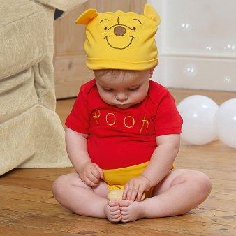 Winnie Pu Bär Kurzarmbody mit Mütze Babykostüm 0-3 Monate / 64cm (Halloween-pooh-der-bär)